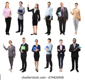 Collage of teachers on white background