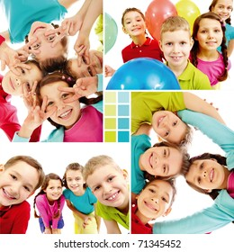 Collage of team of happy kids in joyful mood