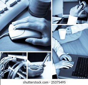 A collage of technology related images showing people working with computers in blue tone