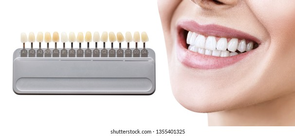 Collage of teeth palette with whitening female teeth. Isolated on white.