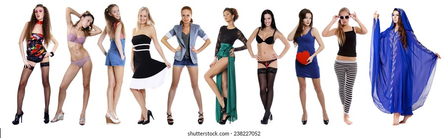 Collage of ten beautiful sexy woman, isolated on white