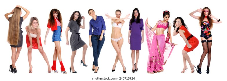 Collage of ten beautiful sexy women, isolated on white