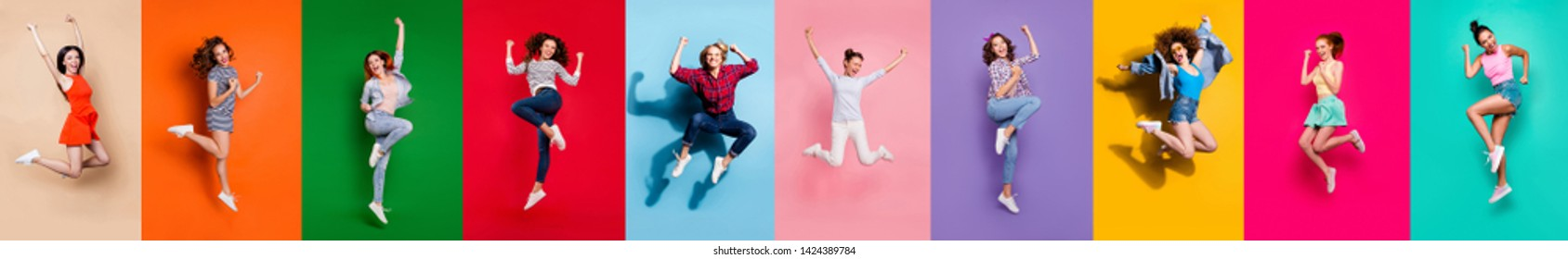 Collage of ten charming glad carefree nice attractive shiny modern delightful girls millennials person youngsters having good mood flying air isolated over colorful background travel summer concept