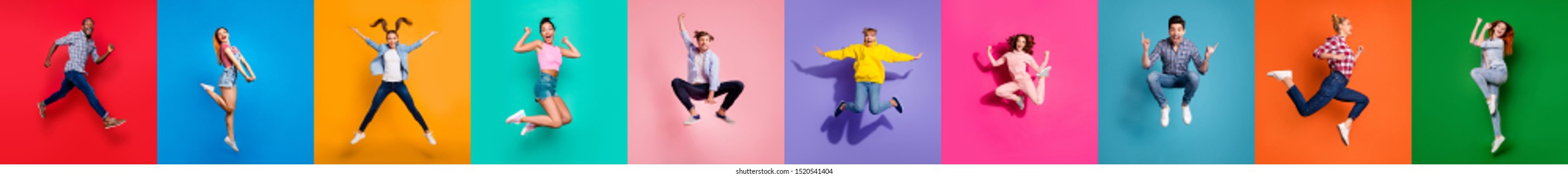 Collage of ten glad carefree attractive shiny modern multiethnic delight millennials person youngsters have diferent age good mood flying air isolated over color background travel sale summer concept