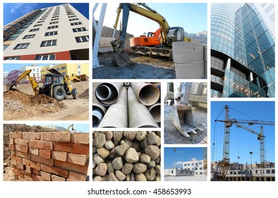 collage of ten pictures on the theme of construction.