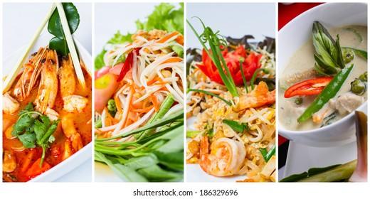 Collage of thai food (Tom Yum Kung, Som Tum, Pad Thai, Green curry)