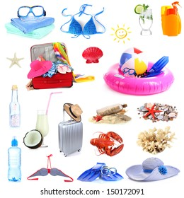 Collage of things for summer holiday