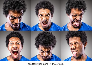 Collage of a thirty something African male puling silly, fun and stupid faces. Sticking his tongue out and twisting his mouth and cheeks. Funny and handsome guy.