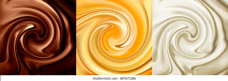 Collage of three backgrounds. Chocolate, caramel, vanilla