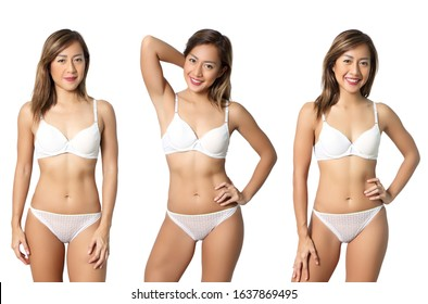 collage three beautiful asian women in bikini and white background at studio