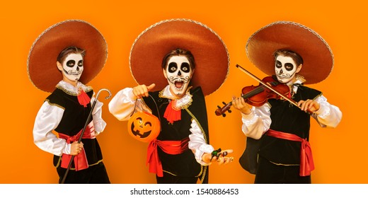 Collage of three boys with sugar skull makeup playing the violin, trick-or-treating and standing in costume over bright yellow background. Halloween. Dia de los muertos. Day of the dead. Copy space.
