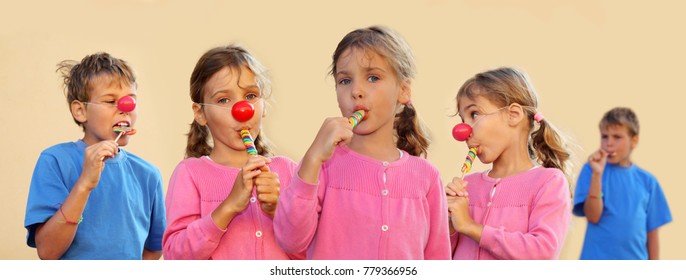 Collage with three girl and two boy (two models) with clown nose suck multicolored candies