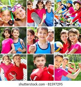 Collage of three happy children spending summer vacation