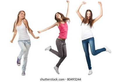 Collage of three happy excited young women with arms extended  in different perspectives. Over white background