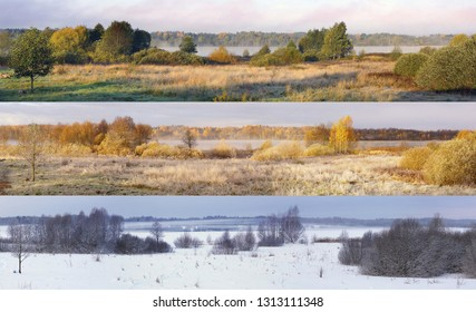 Collage of three landscapes photographed in summer, autumn and winter.