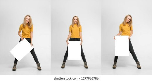 Collage of three photos of positive laughing woman wearing black jeans and yellow t-shirt with blondie hair, toothy smile is holding white big mockup poster isolated on white background