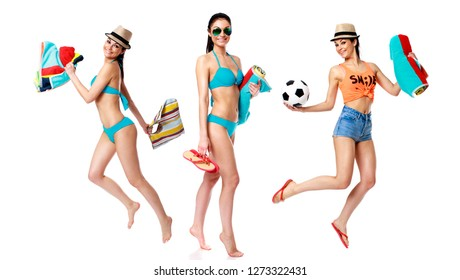 Collage three sexy women in bikini. Beautiful brunette models in turquoise swimsuit with Beach towel, isolated on white background