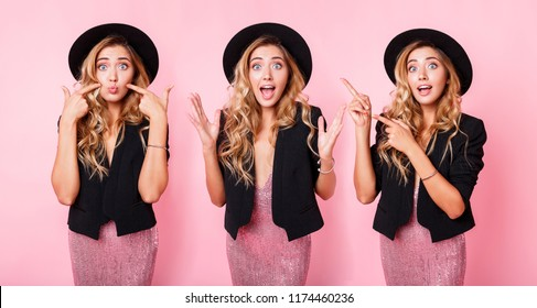 Collage of three similar girls with different emotions.   Girls making grimaces, having fun. Facial expressions. Pink background. Wearing trendy dress with sequence , black jacket and hat.