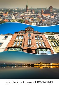 Collage of Torun in Poland, historic tenement houses.