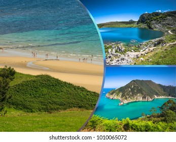 Collage of tourist photos of the  Asturias, Spain.