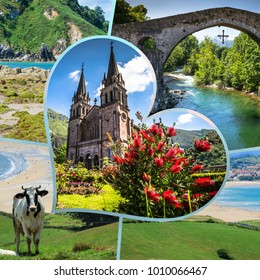 Collage of tourist photos of the  Asturias, Spain.