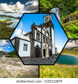 Collage of tourist photos of the Azores