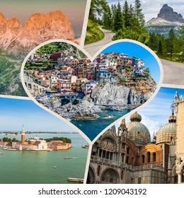 Collage of tourist photos of the Italy