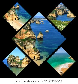Collage of tourist photos of the Lagos Portugal