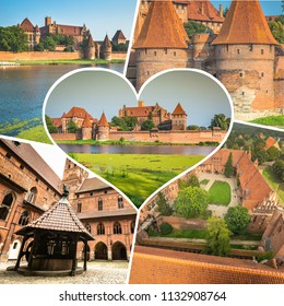 Collage of tourist photos of the Malbork