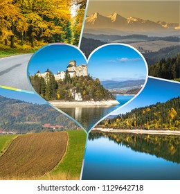 Collage of tourist photos of the Niedzica Poland