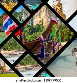 Collage of tourist photos of the Thailand