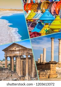 Collage of tourist photos of the Tunisia