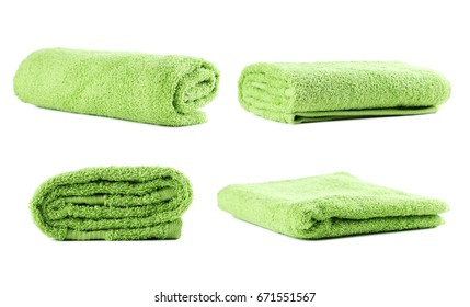 Collage of towels on white background