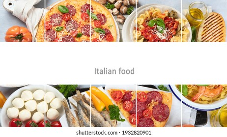 Collage of traditional Italian foods with pizza, pasta, olives, vegetables. Healthy mediterranean diet.