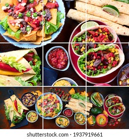 Collage of traditional Mexican food mix on dark background.