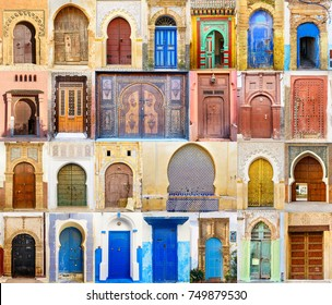 Collage of Traditional Moroccan entry door