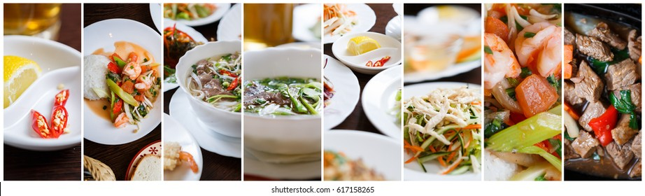Collage of traditional Vietnamese dishes in restaurant menu.Horizontal background shot of Asian food.Delicious Vietnam cuisine with different salad,soup,sea food dishes