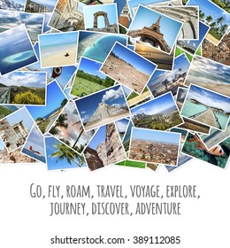 Collage with travel images and Inspirational quote about travel