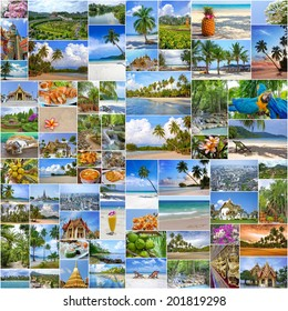 Collage of travel images from Thailand (my photos). Buddhist temples, exotic islands, tropical beaches with white sand and palm trees and a traditional Thai cuisine. Nature and travel background