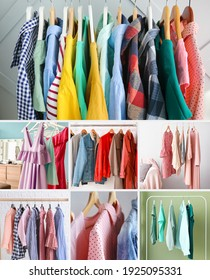Collage of trendy clothes on racks. Concept of stylist
