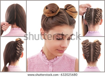 Collage Trendy Hairstyle Tutorial Stock Photo (Edit Now) 632025680 ...