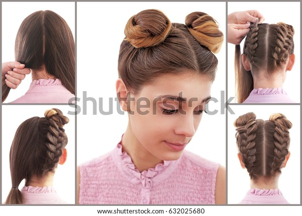 Collage Trendy Hairstyle Tutorial Stock Photo (Edit Now ...