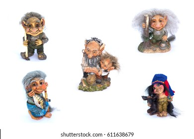 Collage of troll's figurines on a white background.
