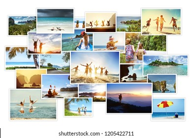 Collage of tropical photos with landscapes and peoples. Sea vacations concept