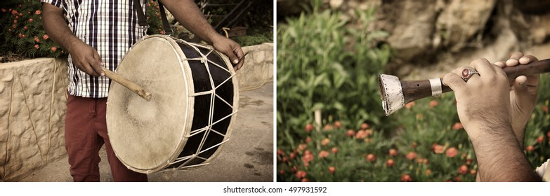 Collage of two Arabic musical instruments used traditionally for Dabke dance.