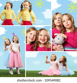 Collage of two cute girls in smart clothes