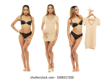 Collage two fashion models. Full portrait of sexy african women in black lingerie and beige dress, isolated on white background