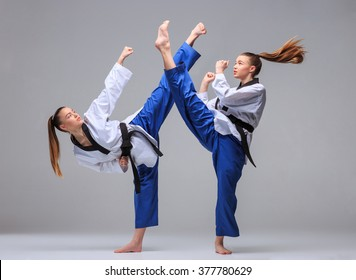 The collage of two images of one karate girl in white kimono and black belt training karate over gray background