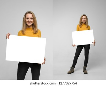 Collage of two photos of positive laughing woman wearing black jeans and yellow t-shirt with blondie hair, toothy smile is holding white big mockup poster isolated on white background