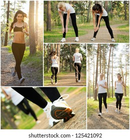 Collage of two pretty women doing fitness outdoor
